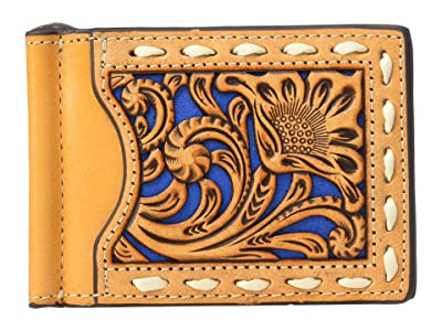 M&F Western Nocona Contrast Underlay and Lacing Money Clip (Tan/Blue) Wallet