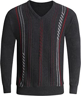 MyShoeStore® Mens Stripe V Neck Long Sleeve Jumper Knitted Top Soft Knit New Pullover Sweater Plus Big Size S-5XL