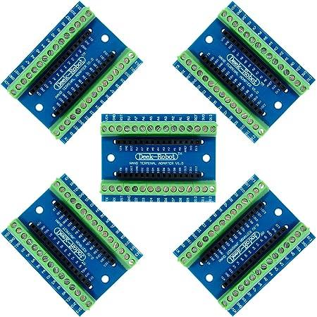Aideepen 5個 Nanoターミナルアダプター コントローラーシールド拡張ボード、Arduino NANOと互換性のNano V3.0 AVRATEMGA328P-AUモジュールボード用、DIY Nano IO シンプル拡張ボード ネジ端子 便利接続