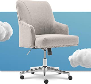 Serta Leighton Home Office Chair with Memory Foam, Height-Adjustable Desk Accent Chair with Chrome-Finished Stainless-Stee...