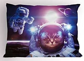 Ambesonne Space Cat Pillow Sham, Astronauts in Nebula Galaxy with Eclipse in Saturn Planets Image, Decorative Standard King Size Printed Pillowcase, 36