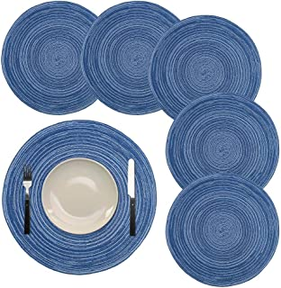 HTB Round Place Mats Crossweave Heat Resistant Woven Placemats Cotton Insulation Washable for Kitchen Dining Table Set of 6,14 inch(Blue)