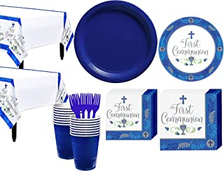 Party City Boy's First Communion Tableware Supplies for 36 Guests, Include Plates, Napkins, Table Covers, and Utensils
