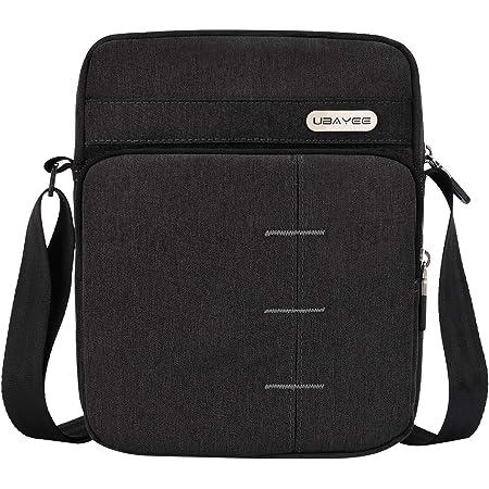 UBAYEE Bolso Hombre Bandolera Pequeño de Lona con Multibolsillos (Compatible con 8,5 Pulgadas Tablet iPad Mini, 22 cm), Negro