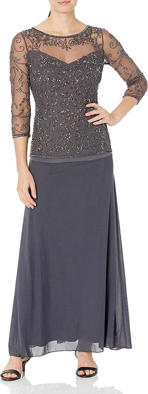 Pisarro Nights Women's Mock Two-Piece Beaded Dress with Illusion Neck