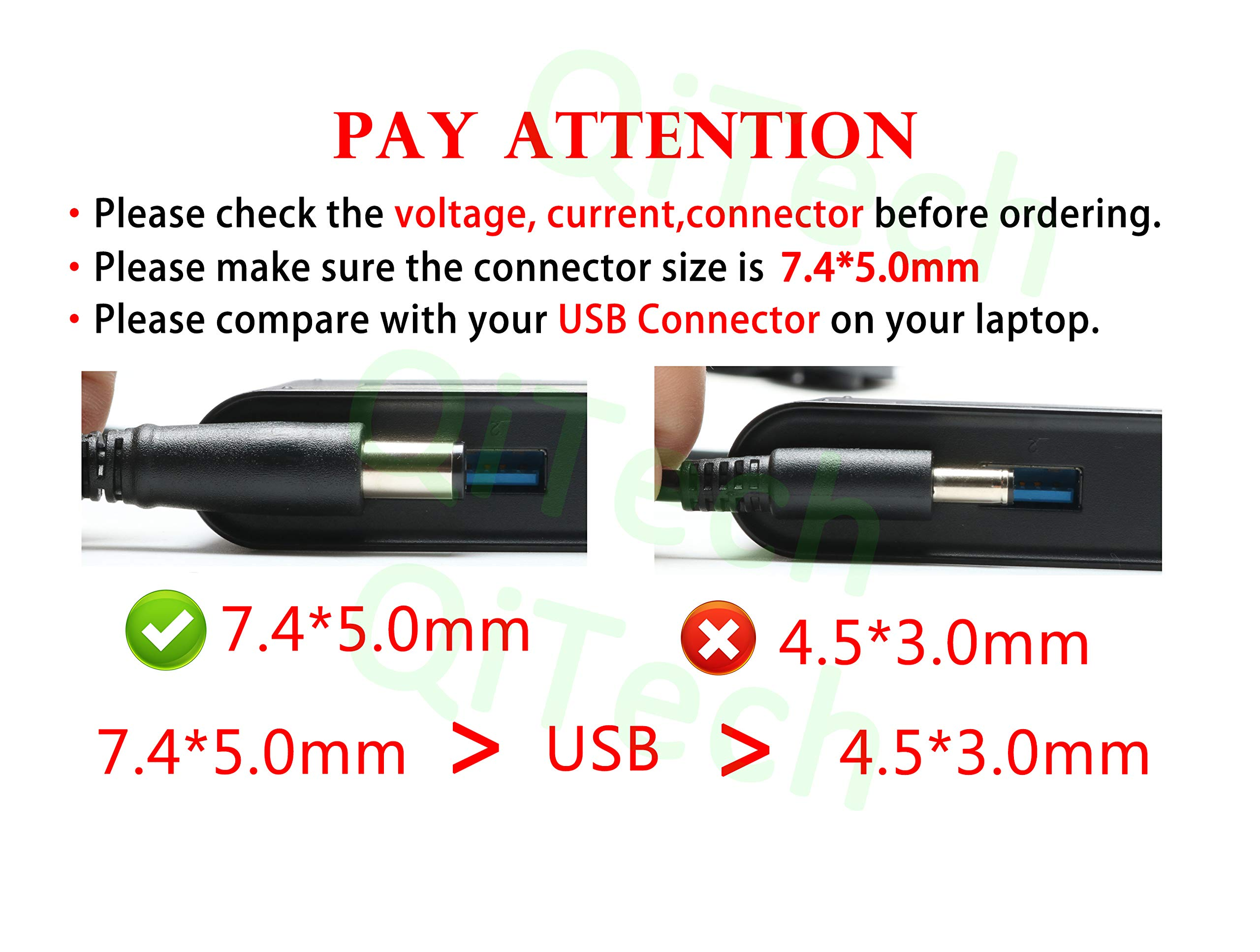 19.5V 3.34A 65W Laptop Charger Replacement for Dell Latitude E5430 E6410 E5440 E5470 E6420 E6430 E6440 E6540 E7250 E7440 E7450 5480 5490 7480 7490 LA65NM130 HA65NM130 AC Adapter Power Supply Cord