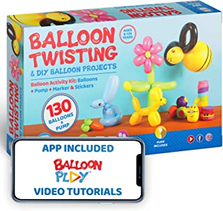 Deluxe Balloon Animal Kit with App | 130 Balloons in 4 different Shapes + balloon pump + Stickers + Marker + Balloon App with 40+ video tutorials, fun gift for all ages
