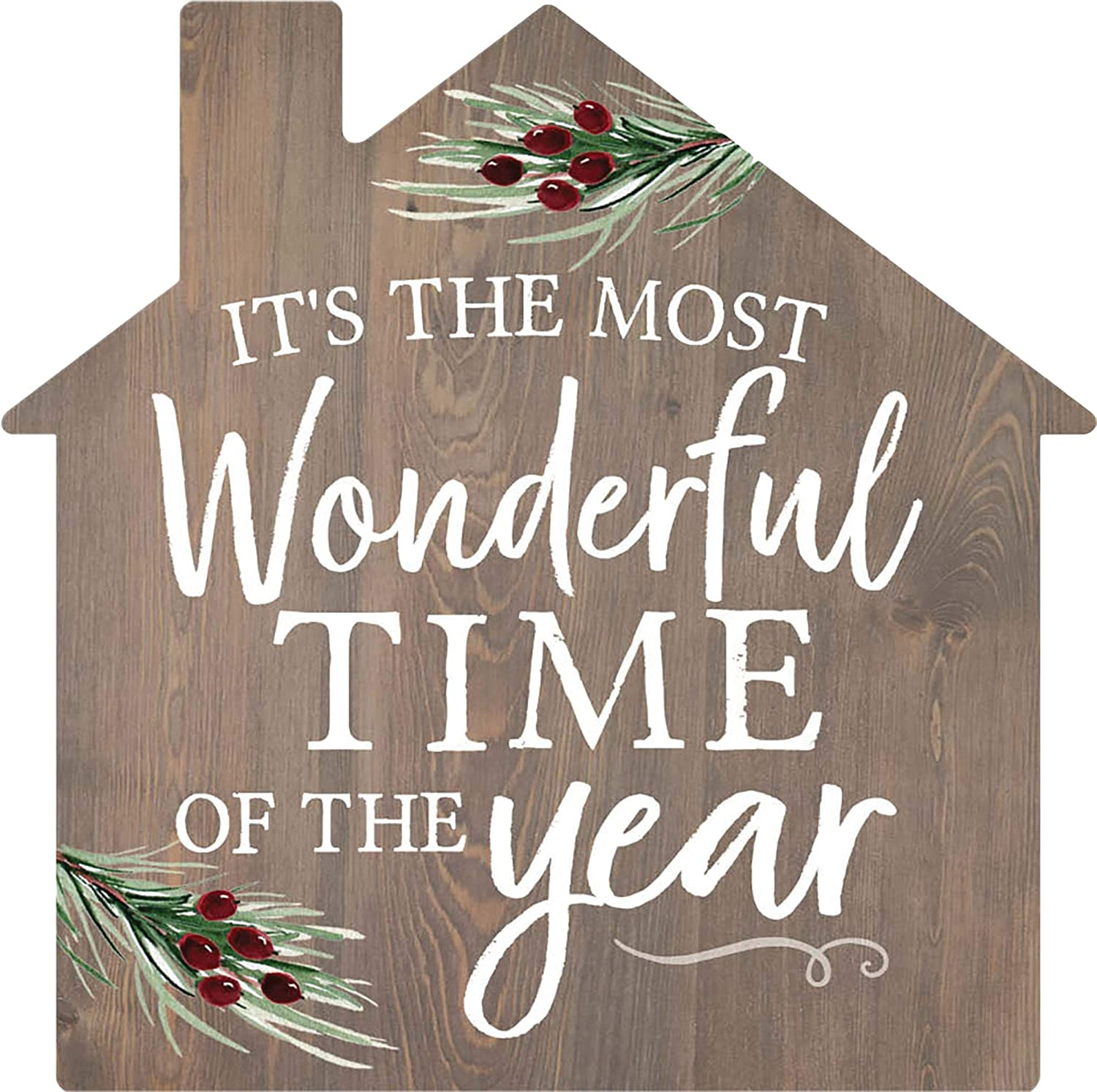 P. Graham Dunn Most Wonderful Time of The Year Slate Grey 3.2667 x 3.25 Pine Wood Christmas Sign