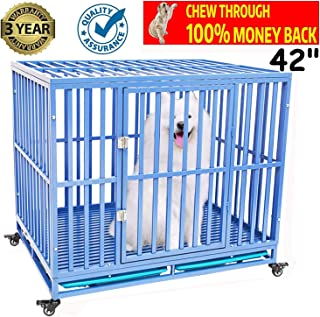 Zhanrui Heavy Duty Dog Cage Crate Kennel Playpen Large Strong Metal for Large Dogs and Pets, Easy to Assemble with Patent Lock and Four Lockable Wheels