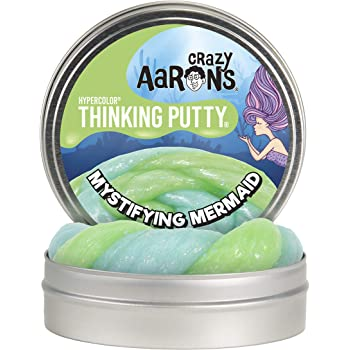 """Crazy Aaron's Thinking Putty 4"""" Tin - Mystifying Mermaid Hypercolor - Color Changing Putty, Firm Texture - Never Dries Out"""