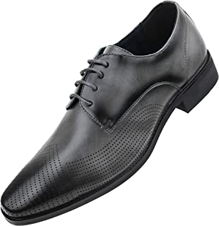 Amali The Original Men's Smooth Burnished Lace Up Oxford Dress Shoe with Perforated Tip, Style Rowan