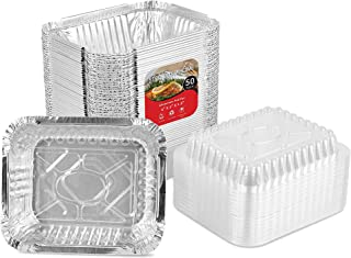 Aluminum Pans with Clear Plastic Lids (50 Pack) 1 Lb Foil Pans - To Go Food Containers - 50 Pans and 50 Lids - 1 Pound Foil Trays for Leftovers, Carry Out and Takeout
