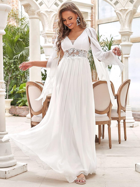 Ever-Pretty Women's Illusion Long Appliques Chiffon Wedding Dresses 90330