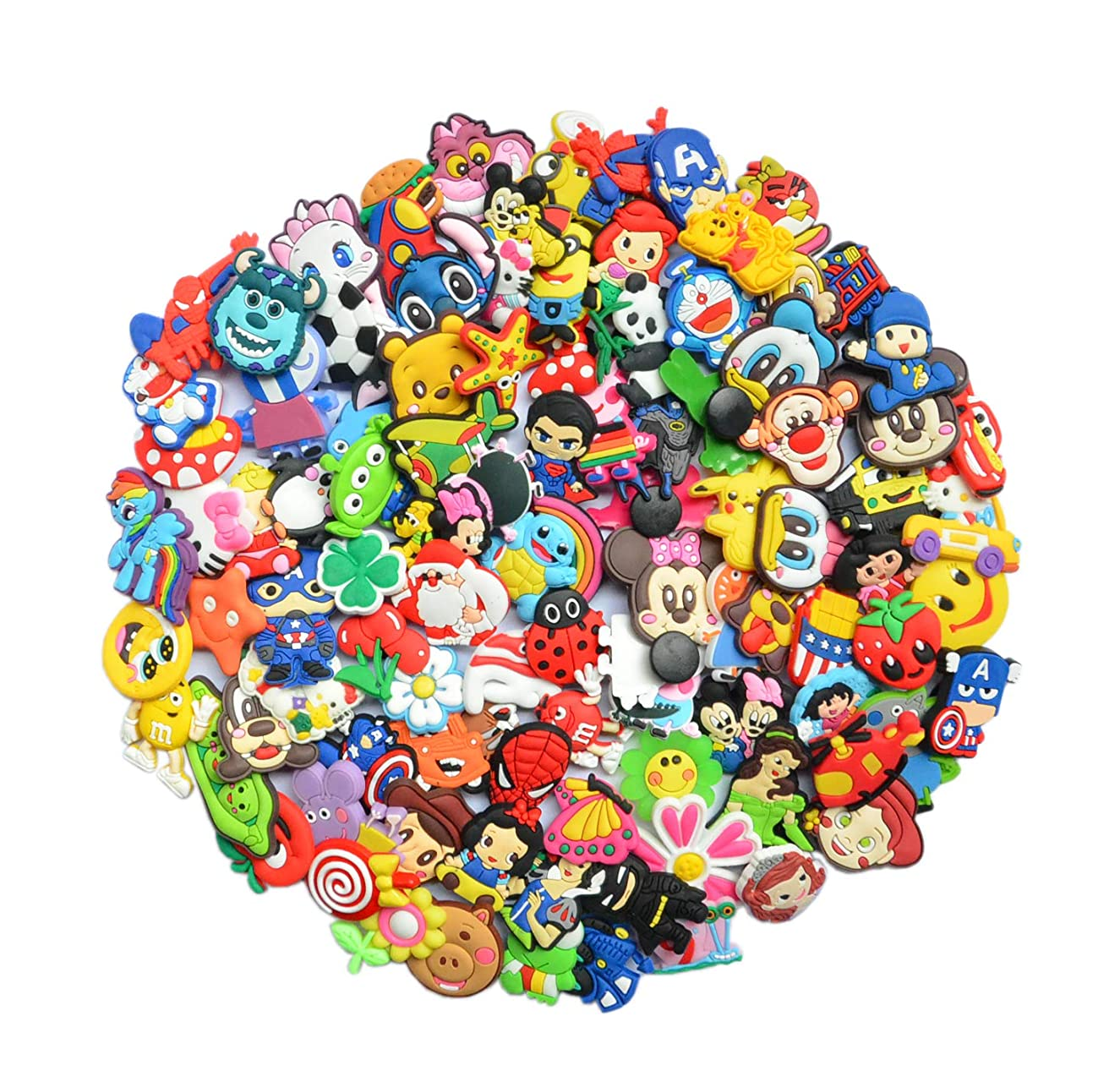 YAOYAO Different 100 Pcs PVC Shoe Charms for Croc & Jibbitz Bands Bracelet Wristband for The Beach Camping