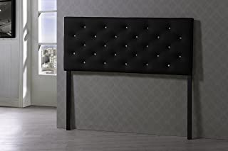 Baxton Studio Viviana Modern & Contemporary Faux Leather Upholstered Button Tufted Headboard, Queen, Black