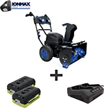 Snow Joe iON8024-XRP 80-Volt iONMAX Cordless Two Stage Snow Blower Kit | 24-Inch | 4-Speed | Headlights | W/ 2 x 6.0-Ah Batteries and Charger
