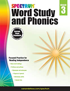 Spectrum Paperback Word Study and Phonics Book, Grade 3, Ages 8-9