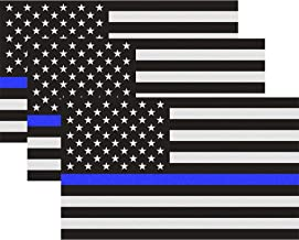 Classic Biker Gear Reflective Thin Blue Line Decal - 3x5 in. American Flag Decal for Cars and Trucks, Support Police and Law Enforcement Officers (3 Pack)