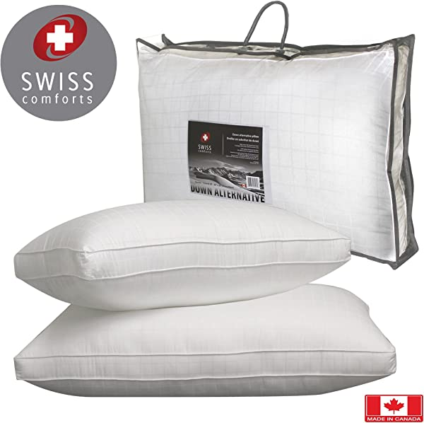 Swiss Comforts 100 Soft Cotton 300TC Goose Down Alternative Sleeping Bed Pillow 2 Gusset Filled With 100 Holo Siliconized Cluster Fiber Double Piping Square Design Standard 20 X 26