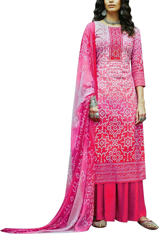 Bandhani Style Printed Pure Cotton Salwar Kameez Suit with Palazzo Pants