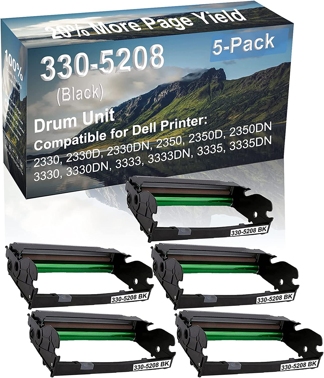 5-Pack Compatible Drum Unit (Black) Replacement for Dell 330-5208 Drum Kit use for Dell 3333, 3333DN, 3335, 3335DN Printer