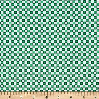 Patrick Lose Fabrics Studio Snow Happy Check Fabric, Green, Fabric By The Yard