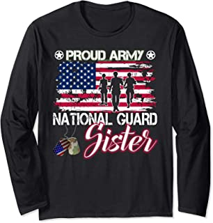 Proud Army National Guard Sister Dog Tag Shirt Mothers Day Long Sleeve T-Shirt