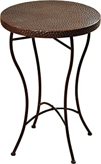 Collective Design 720354122868 Transitional Round Hammered Copper Oil-Rubbed Bronze Powder Coat Finish Legs Accent Table