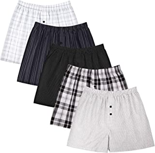 5Mayi Men's Cotton Boxer Shorts Breathable Mens Woven Boxers Underwear for Men Pack of 5