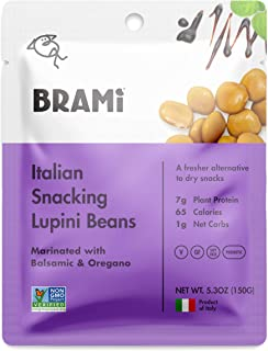 BRAMI Lupini Beans Snack, Balsamic & Oregano | 7g Plant Protein, 1g Net Carbs | Vegan, Vegetarian, Keto, Mediterranean Diet | 5.3 Ounce (8 Count)