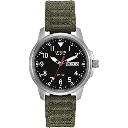 Citizen Eco-Drive GarrisonQuartz Unisex Watch, Stainless Steel with Nylon strap, Field watch, Green (Model: BM8180-03E)