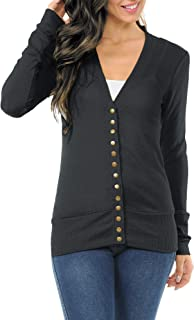 ClothingAve. Womens Long Sleeve Snap Button Sweater Cardigan with Ribbed Detail