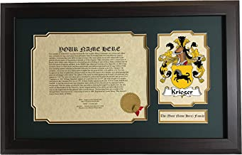 Krieger - Coat of Arms and Last Name History, 14x22 Inches Matted and Framed