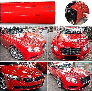 1roll superglans rode vinylfilm auto wraps auto glanzende rode folie auto wrap film voertuig sticker 30 x 152cm auto DIY d...