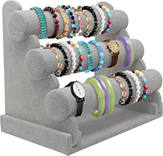 Bracelet Holder with Three Tier Rack ~ Velvet Bracelet Stand ~ Jewelry Organizer ~ Bangle Display (Grey - 3 Tier Stand)