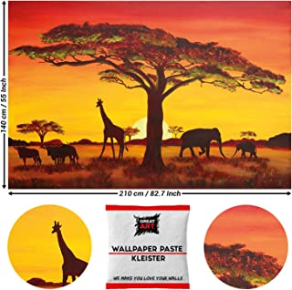 Great Art Photo Wallpaper Sunset in Africa Wallpaper - African Safari Mural Sun Animals Poster 210 x 140 cm/82.7 Inch x 55 Inch - Wallpaper 5 Pieces Includes Paste
