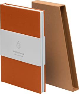 MOO Lined Hardcover Notebook – Premium A5 Lay Flat Journal - Thick 5x8 Paper for Writing and Work, Field Notes and Meetings (Burnt Orange/Ice Blue)