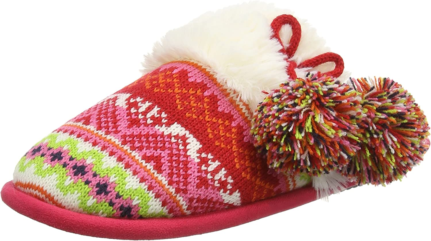 Dearfoams 50491 Sweater Knit Scuff Slippers Bright Combo