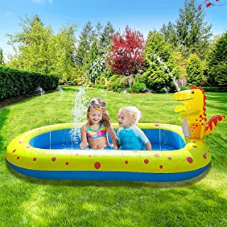 Inflatable Swimming Pool, Full-Sized Family Kiddie Swimming Pool for Kids, Adults, Babies. Blow Up Rectangular Large Above...