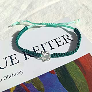 Cross border popular lovers Bracelet six star woven Bracelet men and women simple hand rope hand string hand jewelry 深绿六芒星