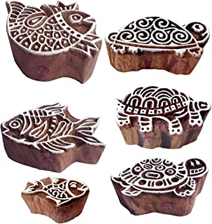 Ornate Pattern Tortoise and Fish Wood Block Stamps (Set of 6)