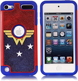 Apple iPod Touch 6th Case, iPod Touch 7 Cover - Female Super Hero Pattern Shockproof Hard PC and Inner Silicone Hybrid Dual Layer Armor Defender Case for Apple iPod Touch 5 6th, iPod Touch 7