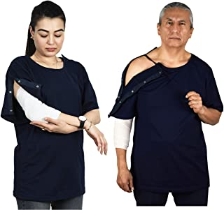 Post Surgery Shirt with Right Shoulder & Side Access via Hidden Easy Open Snaps