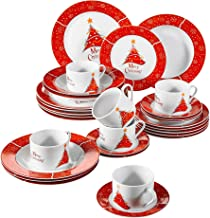 VEWEET 30-Piece Ceramic Dinnerware Set Porcelain Christmas Tree Pattern Plate and Bowl set with Dinner Plate, Soup Plate, Dessert Plate, Saucer and Mug, Service for 6 (CHRISTMAS Series)