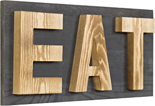 MyGift Rustic Grey & Natural Wood Wall Mounted EAT Letter Sign Decor