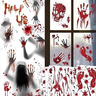 Halloween Decoraties Bloedige Handafdruk Stickers-103 Stks Halloween Bloedige Venster Muur Kleeft Vloerstickers Bloedvlekk...