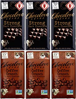 Chocolove Strong Dark chocolate, Coffee Crunch in Dark chocolate 3.2 oz (3 bars of each flavor)