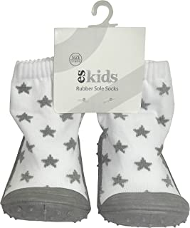 ES Kids Rubber Soled Socks - Grey Star 6-12mth, Grey