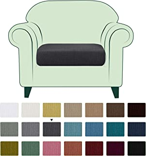 CHUN YI Stretch Couch Cushion Cover Replacement, Fitted Loveseat Sofa Chair Seat Slipcover Furniture Protector, Checks Spandex Jacquard Fabric, Small, Gray