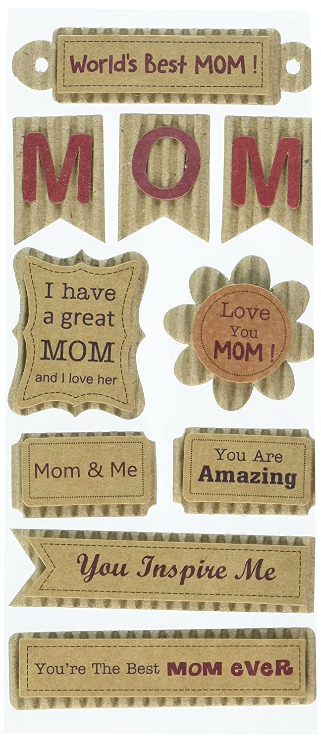 Multicraft Imports SS882F Best Mom Craft Paper Elements Stickers, Multicolor